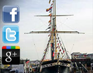 SS Great Briton background image with social network logo's